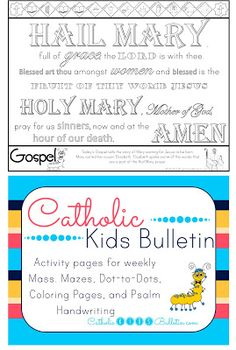 Catholic Kids Bulletin Coloring Page Assumption of the Blessed Virgin Mary Hail Mary **FREE** Catholic Kids Bulletin Coloring Page Saint Clare. FREE Awesome weekly printables for your Kiddos to use at Catholic Mass!