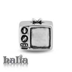No Remote: A retro TV, rabbit ears and dials, a reminder of the past: designed exclusively by Halia, this bead fits other popular bead-style charm bracelets as well. Sterling silver, hypo-allergenic and nickel free.   $35.00