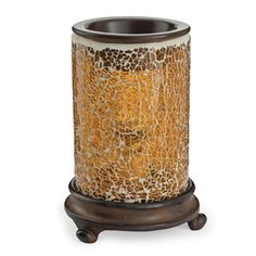 The Crackled Amber Candle Warmer just needs some wax melts to fragrance your home. Love this one!