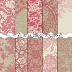 RED BURLAP and Natural LACE Digital Paper by BaerDesignStudio, $4.99