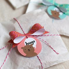Download and print these bear hugs gift tags and mini chevron bows. They come in three colors and are perfect for gifts for kids  grown ups