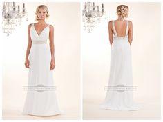 Sheath Plunging V-neck Wedding Dresses with Beaded Straps and Belt http://www.ckdress.com/sheath-plunging-vneck-wedding-dresses-with-  beaded-straps-and-belt-p-182.html  #wedding #dresses #dress #lightindream #lightindreaming #wed #clothing   #gown #weddingdresses #dressesonline #dressonline #bride