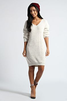 Lauren Nep Yarn V Neck Jumper Dress - cream, cream