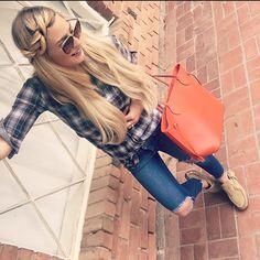 "//2.1.16// shirt: #abercrombieandfitch, jeans: #necessaryclothing, sunglasses: #dolceandgabbana, lips: #maccosmetics ""teddy girl"", shoes: #quoddy , purse: #louisvuitton ✨"