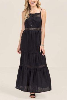 d2a887805a7e francesca s Frida Ladder Lace Maxi Dress - Black Pizzo Molto Grande
