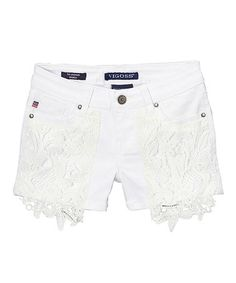 This White Crochet Lace-Accent Denim Shorts - Girls is perfect! #zulilyfinds