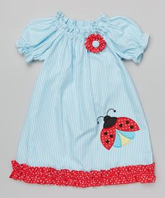 Look what I found on #zulily! Turquoise & Red Ladybug Peasant Dress - Infant, Toddler & Girls by BeMine #zulilyfinds