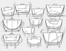 Quick Messenger Bag Sketches by Brad Gressel, via Behance Flat Sketches, Cool Sketches, Drawing Sketches, Sketching, Flat Drawings, Drawing Bag, Bag Illustration, Illustrations, Industrial Design Sketch