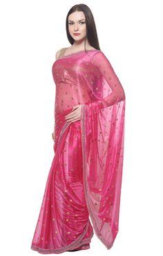 Attractive Pink Colored Lycra Saree Sarees on Shimply.com