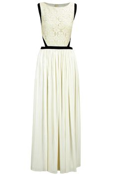 Off-white lace long dress with pleated skirt available only at Pernia's Pop-Up Shop.