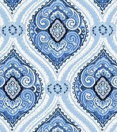 Fabric Central By the Yard Fabric- Flourish Blue Damask