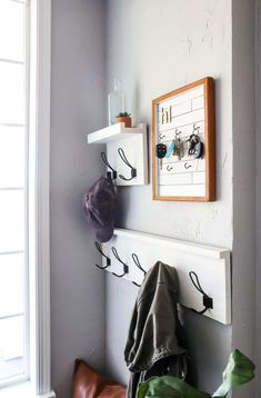 Entryway Coat Hooks, Entryway Wall Decor, Entry Wall, Entryway Storage, Entry Shelf With Hooks, Storage Hooks, Shoe Storage, White Coat Hooks, Coat Hook Shelf