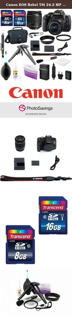 Canon EOS Rebel T6i 24.2 MP DSLR Digital Camera Bundle with Accessories (16-Items). Take your art to the next level and capture the best moments of your life with the Canon EOS Rebel T6i DSLR . It is paired here with the Canon EF-S 18-55mm f/3.5-5.6 IS STM lens , which offers wide-angle to standard focal length shooting specifically designed for APS-C cameras. It is equivalent to a 28.8-88mm focal length in the 35mm format. For capturing everything from vacation videos to everyday snaps...