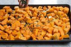 Roasted Butternut Squash a must have healthy fall side dish It has a mildly sweet slightly nutty buttery flavor and a delicious creamy texture Then when you add garlic a. Butternut Squash Casserole, Roasted Butternut Squash, Veggie Recipes, Healthy Recipes, Healthy Foods, Cooking Herbs, Thanksgiving Side Dishes, Easy Salads, Garlic