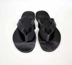 Sandalias de hombre negro cuero Flip Flops zapatos para