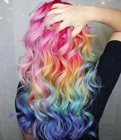 #Rainbow #hair #colours, gorgeous mix and blend.
