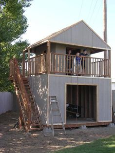 Playhouse On Top Of Shed, Diy Playhouse Swingset, Playhouse Shed Combo, Storage…