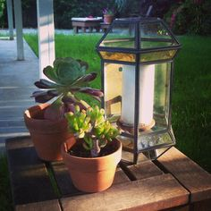 Beautiful Vintage Gas Lamp turned into a Candle Lantern! Perfect for the patio.