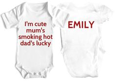I'm cute mum's hot Dad's lucky bodysuit free uk postage on Etsy, £8.99
