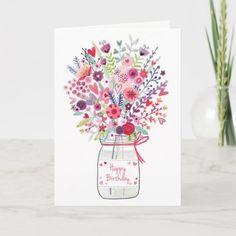 Bouquet Birthday Card Happy Birthday Niece Wishes, Cool Birthday Cards, Birthday Cake Card, Girl 2nd Birthday, Birthday Greeting Cards, Custom Greeting Cards, Birthday Ideas, Birthday Care Packages, Watercolor Birthday Cards