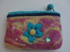 Pretty Blue, Pink and Yellow Needle Felt Purse - Flower £4.99