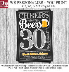 Cheers and Beers to 30 Years Birthday Invitation  by PuggyPrints