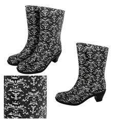 Black & White Damask Paw Print Rain Boots