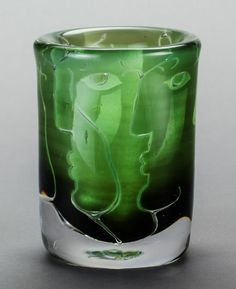 Ingeborg Lundin (Swedish, 1921-1992), ariel glass vase, Orrefors