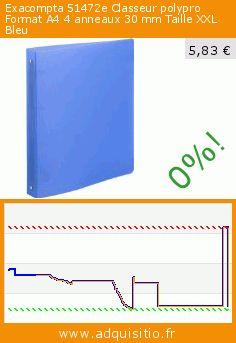 Exacompta 51472e Classeur polypro Format A4 4 anneaux 30 mm Taille XXL Bleu (Fournitures de bureau). Réduction de 82%! Prix actuel 5,83 €, l'ancien prix était de 31,91 €. https://www.adquisitio.fr/exacompta/51472e-classeur-polypro