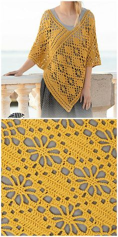 crochet lace poncho crochet lace poncho Learn the rudiments of how to crochet, sta Crochet Poncho Patterns, Crochet Shawls And Wraps, Crochet Motifs, Crochet Jacket, Crochet Blouse, Crochet Scarves, Diy Crochet, Crochet Clothes, Crochet Stitches