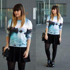 Sheinside Sweater, Balenciaga Boots, Zara Skater Skirt