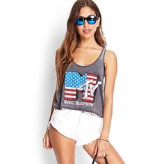 MTV Tank Stars and Stripes mtv tank top. Kind of short. Size medium but can fit a small as well. No trades❌, offers welcome, bundle discounts. Happy poshing!  Tops Tank Tops