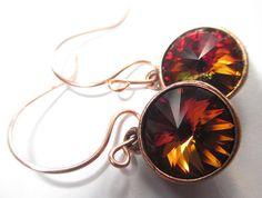 https://www.etsy.com/treasury/MTg3NzM2Mzh8MjcyMjIzMDI1NQ/fall-is-on-its-way  Swarovski Crystal Earrings Antique Copper Earrings by NataliaKh, $20.77