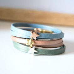 Pulsera de cuero plano con entrepieza de estrella - Edology Jewels