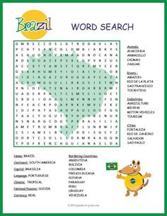 Give your class a treat with this fun and colorful word search activity featuring geographical features and interesting facts about Brazil. Puzzlers will be learning about this important country while they are searching for the words. There are 32 in all to find: be sure to look in all directions!