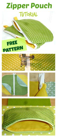 Zipper pouch tutorial - with a free template, a perfect beginner sewing project. Get your free ziper pouch pattern and make an easy zipper pouch. Easy Sewing Projects, Sewing Projects For Beginners, Sewing Hacks, Sewing Tutorials, Sewing Crafts, Sewing Tips, Tutorial Sewing, Knitting Projects, Project Projects