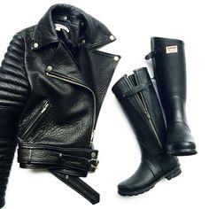 Rainy day outfit. Hunter X Rag & Bone boots. #flatlay via OVRSLO