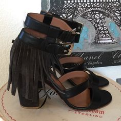 Laurence dacade Suede Fringe Shoes Sandals New and never worn. LOVE the Suede fringe around the ankle. Double buckles. Stacked heel. Very comfortable to wear. 37.5. Made in Italy. Retails $925. I don't have the box. Laurence dacade Shoes Sandals