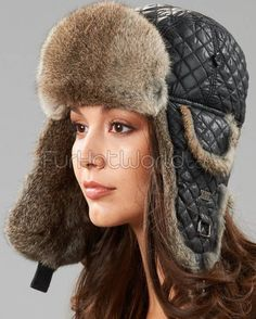 Black Diamond Quilted Rabbit Fur Trapper Hat