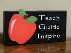 Wooden Block Plaque - Teach, Guide, Inspire  Great Gift Idea for a special…