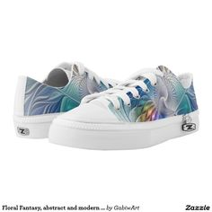 Floral Fantasy, abstract and modern Fractal Art Printed Shoes