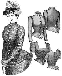 """1885 Cuirass Bodice ---- This type of bodice was very long compare to others. The term """"cuirass"""" means armor, so the bodice was very armor like. It was elongated and contoured the body."""