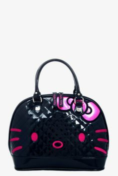 866c28e37333 Black Hello Kitty Face with Pink Embellishments Hello Kitty Purse