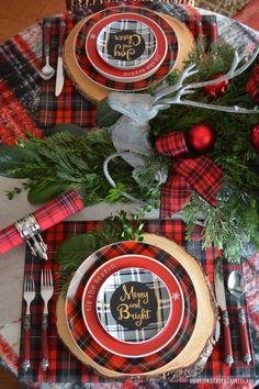 'Tis the Season: A Merry and Bright Plaid Table | ©homeiswheretheboatis.net #Christmastable #plaid #tartan #reindeer