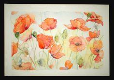 ART Watercolor painting of FIELD POPPIES original art by