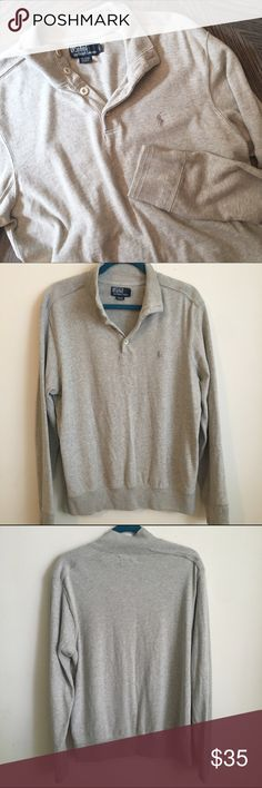 Polo Ralph Lauren Pullover Sweater Men's pullover sweater. Can be worn by a woman, too! I've lounged in the house with it on. SUPER comfy! Minor pilling on bottom of cuffs. Otherwise great condition! Polo by Ralph Lauren Jackets & Coats Lightweight & Shirt Jackets