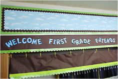Fold craft paper over rope and add border to the bottom. A neat way to display student work.