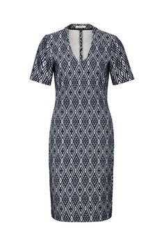 The V-neck and feminine silhouette gives this dress an elegant look. The unique Sandwich print makes this dress extra special. This navy and white structured knit V neck dress hits just above the knee. This style is flattering to all body types. Wear it with a loafer for a casual look, or a wedge for a dressier look. V Neck Dress by Sandwich Clothing. Clothing - Dresses Canada