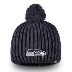 1d150264b7d Women s Seattle Seahawks NFL Pro Line by Fanatics Branded College Navy  Iconic Ace Knit Beanie