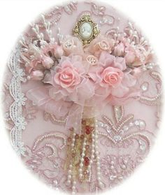 I ❤ ribbonwork . . . Pearls and Roses, (repinned from Carolyn Kniess, picture edited)